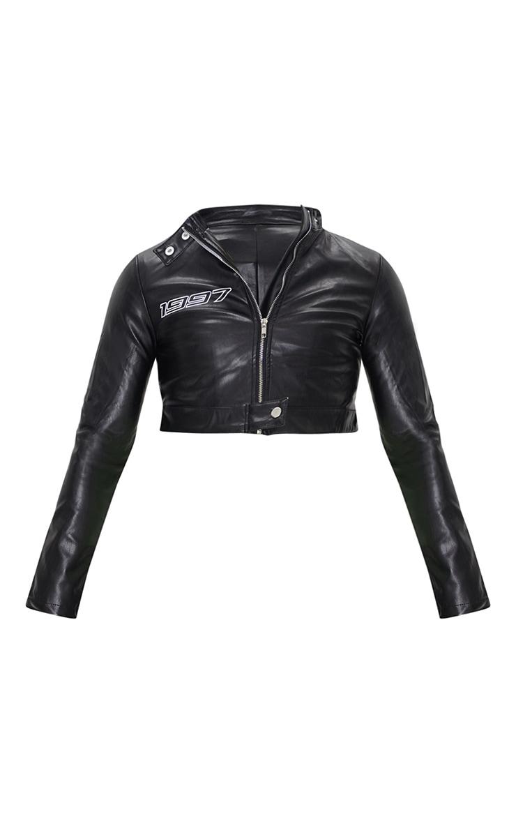 Black PU Crop Jacket 5