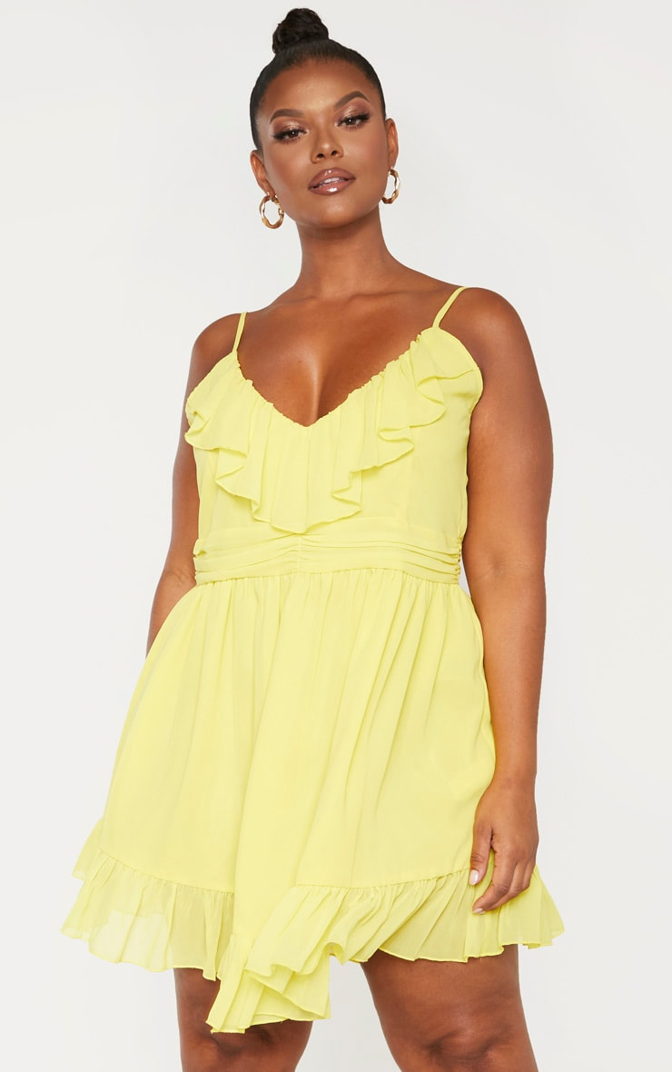 Plus Bright Yellow Strappy Frill Detail Skater Dress 1