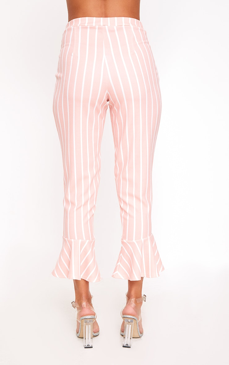 Blush Striped Flare Hem Trousers 3