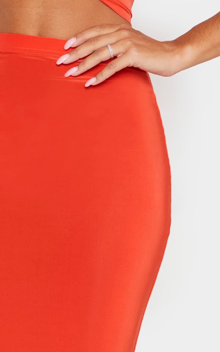 Bright Orange Slinky Midi Skirt 5