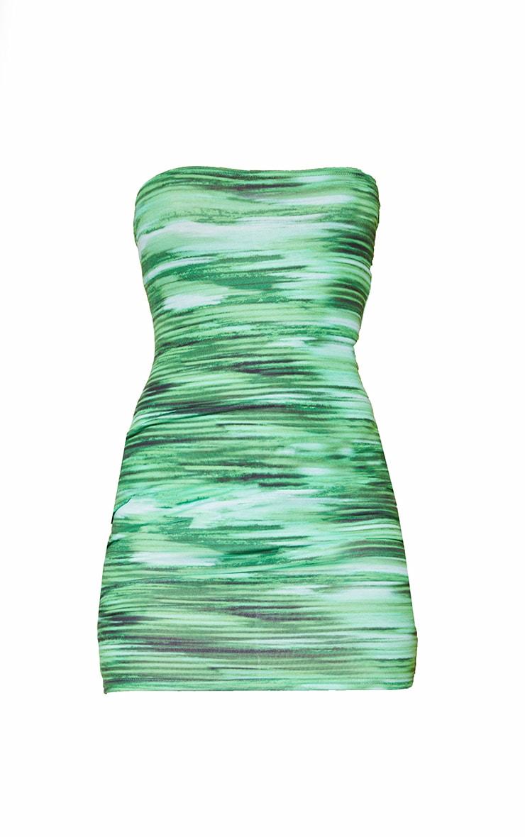 Bright Green Stripe Bandeau Bodycon Dress 5