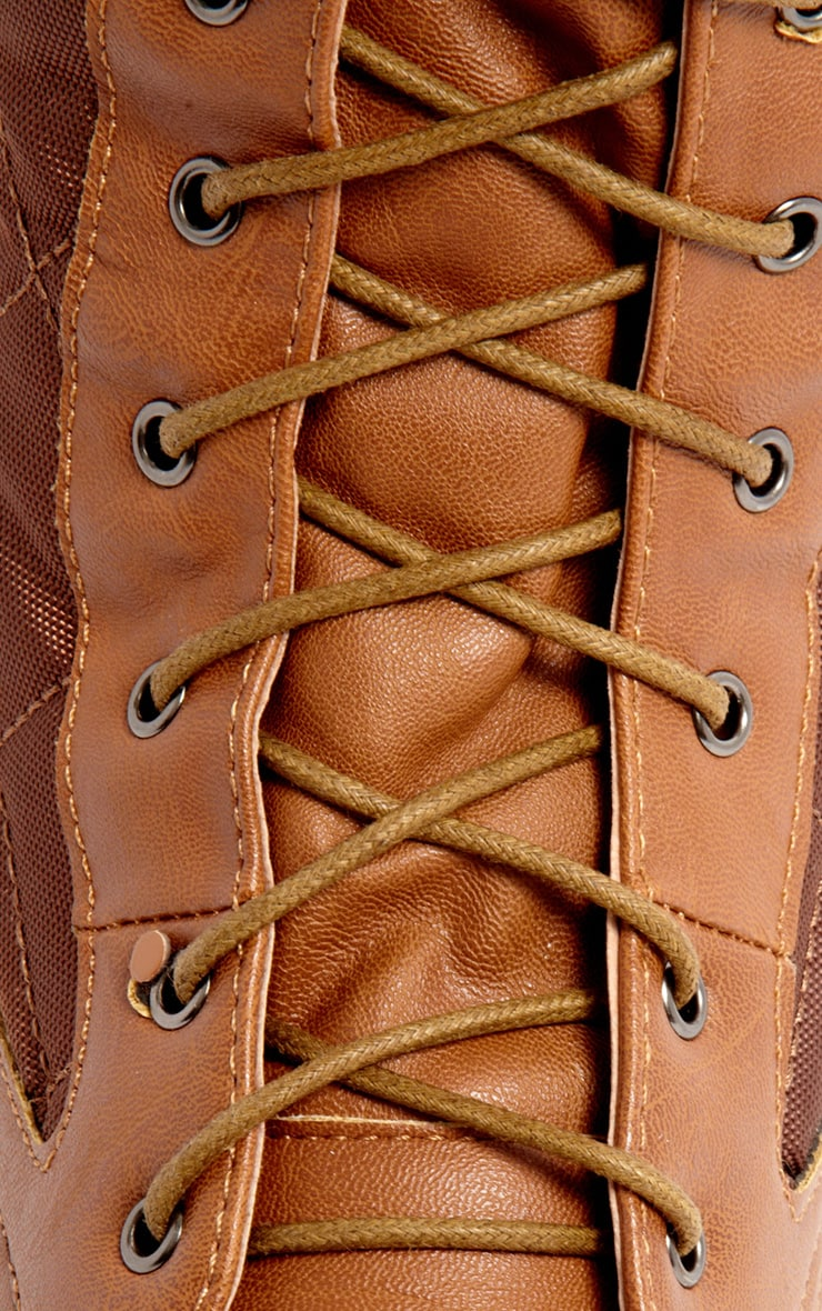 Kasey Tan Quilted Lace Up Boot 4