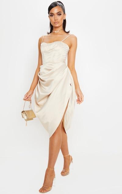 Cream Satin Woven Ruched Side Midi Skirt