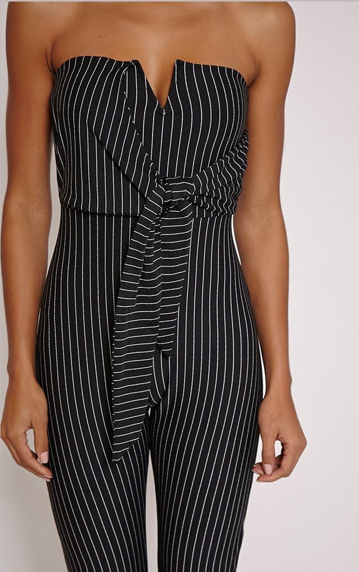 a36d49f5c816 Daisie Black Pinstripe Tie Front Jumpsuit image 5