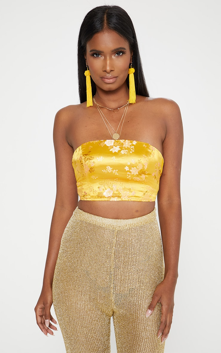 Yellow Satin Oriental Jacquard Lace Up Back Bandeau Top 1