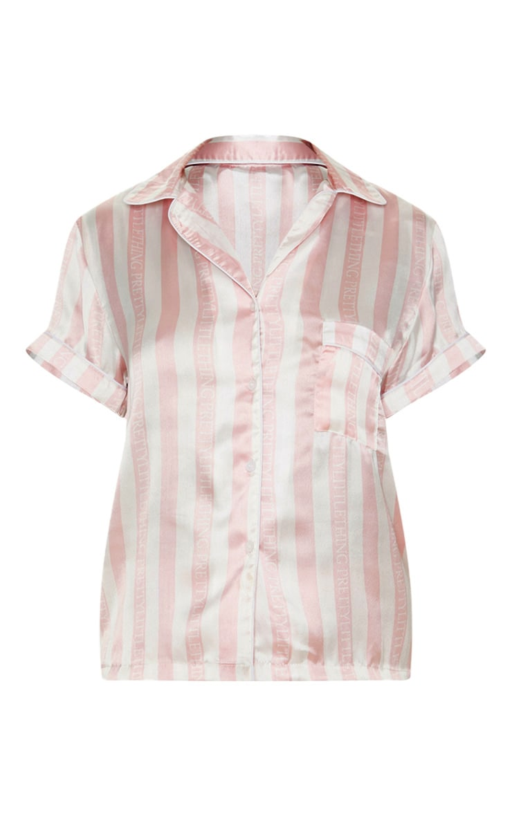 PRETTYLITTLETHING Baby Pink Striped Satin Pocket PJ Set 3