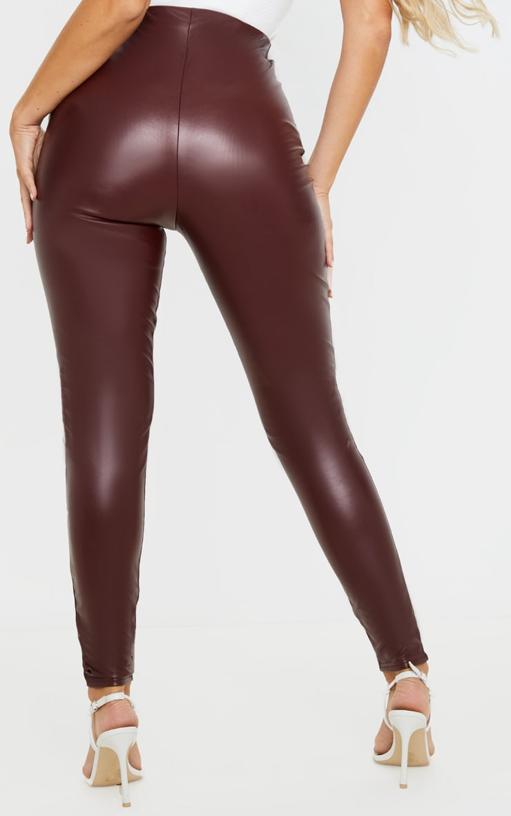Burgundy Faux Leather High Waisted Legging  4
