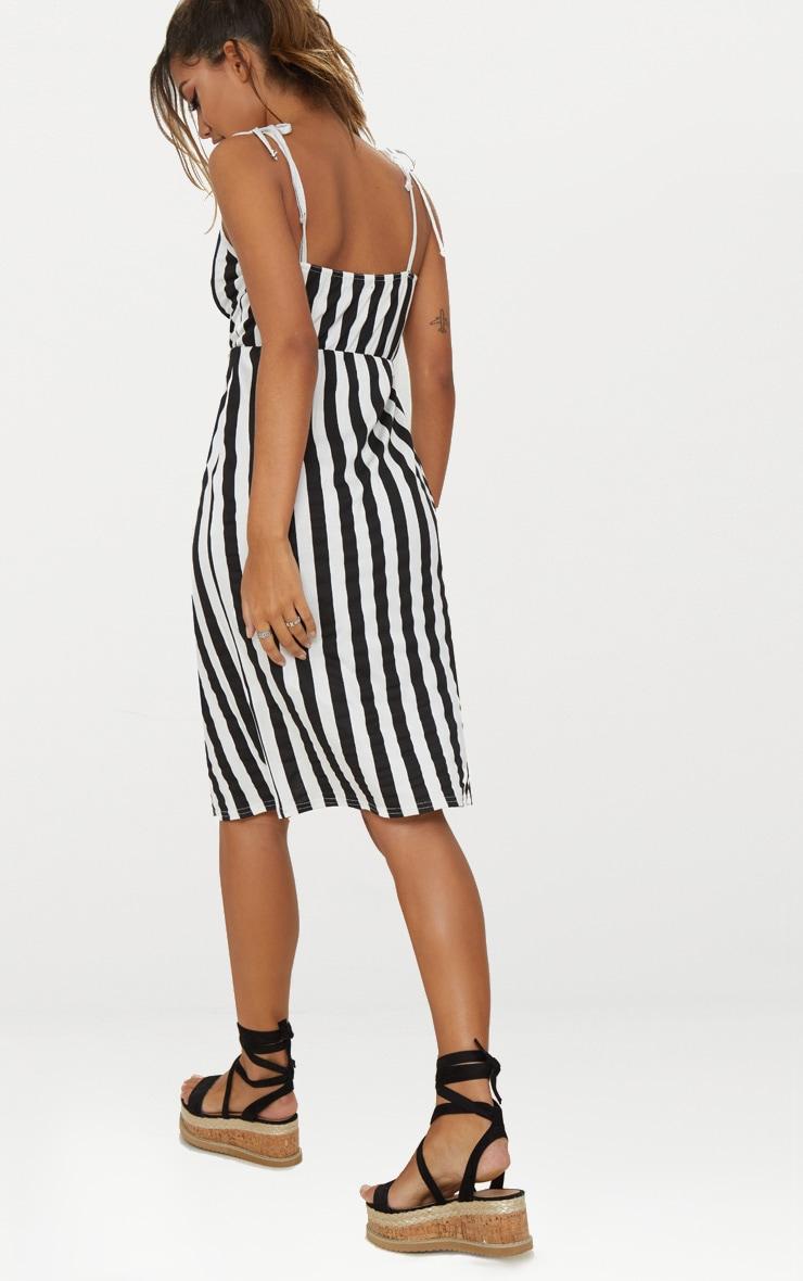 Black Stripe Plunge Wrap Detail Midi Dress 2
