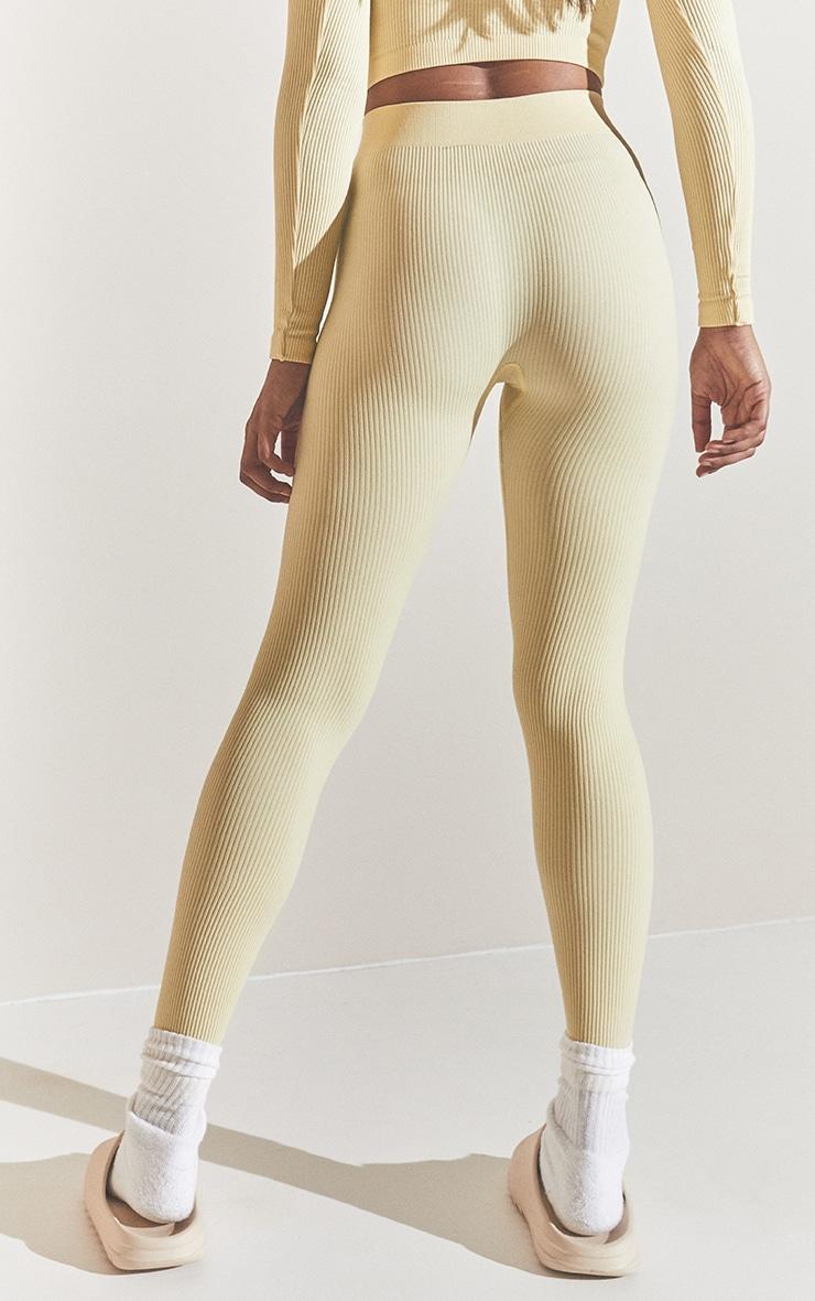 Cream Structured Contour Ribbed Leggings 3