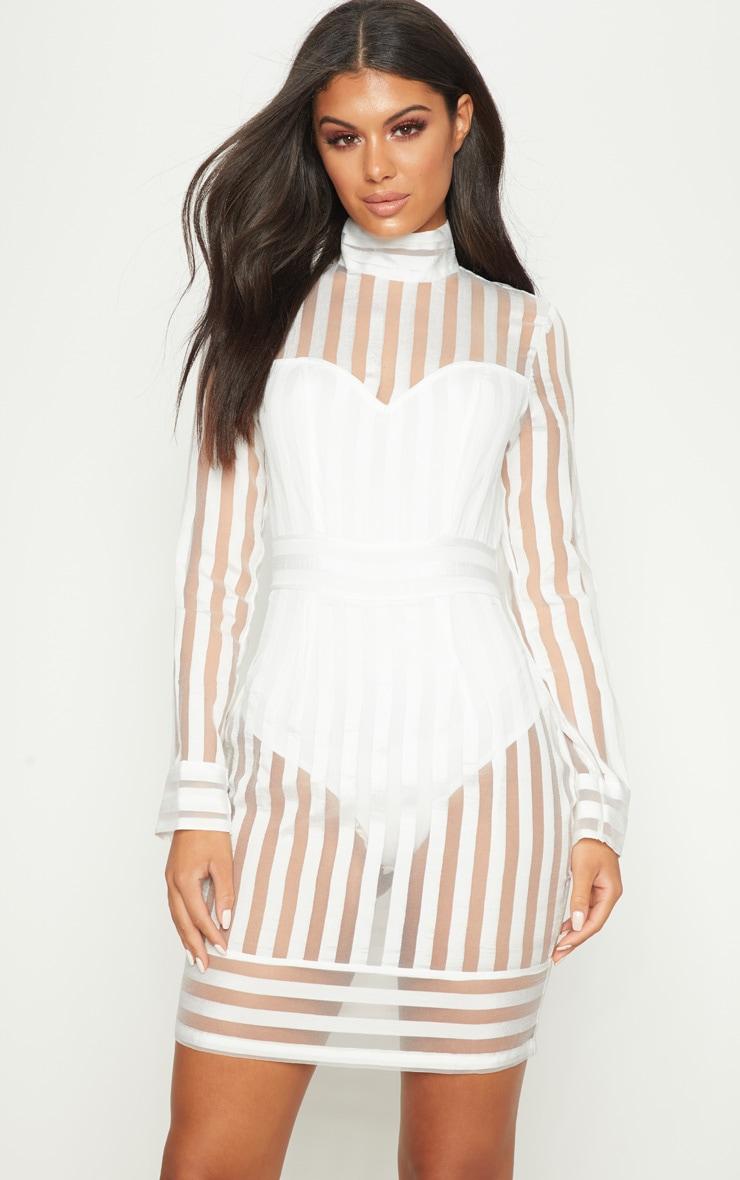 White Stripe High Neck Long Sleeve Bodycon Dress 1