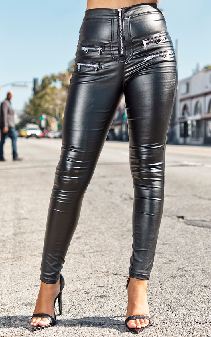 Black Biker Detail Coated Skinny Jeans 2