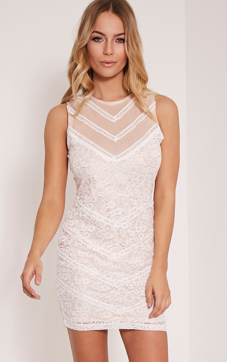 Becca White Lace Bodycon Dress 1