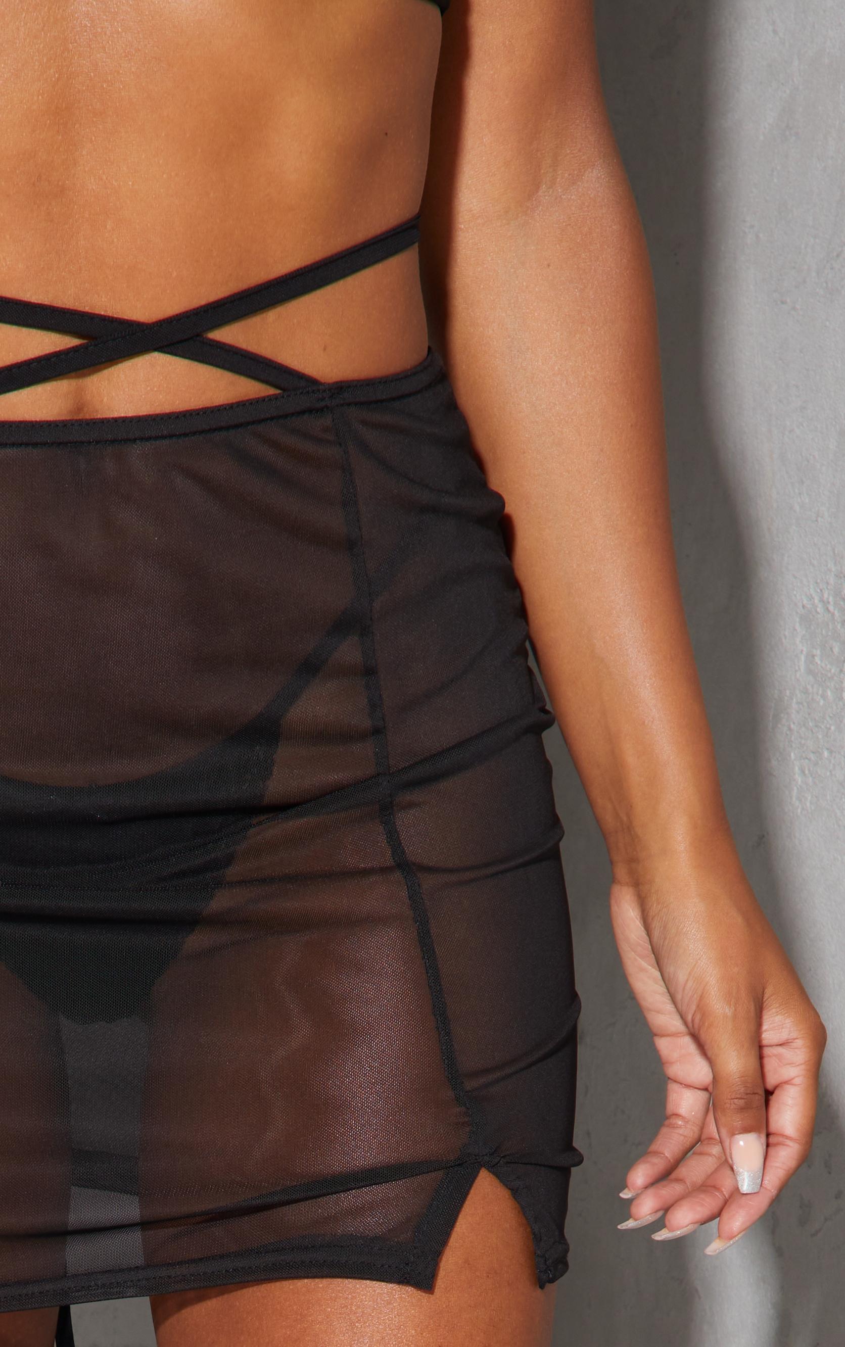 Black Mesh Tie Waist Split Hem Mini Skirt 5