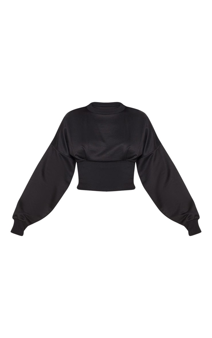 Black Rib Extreme Hem Crop Sweater 3