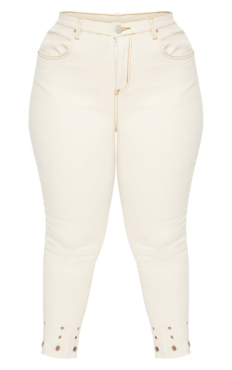 Plus Ecru Eyelet Hem 5 Pocket Skinny Jean 3