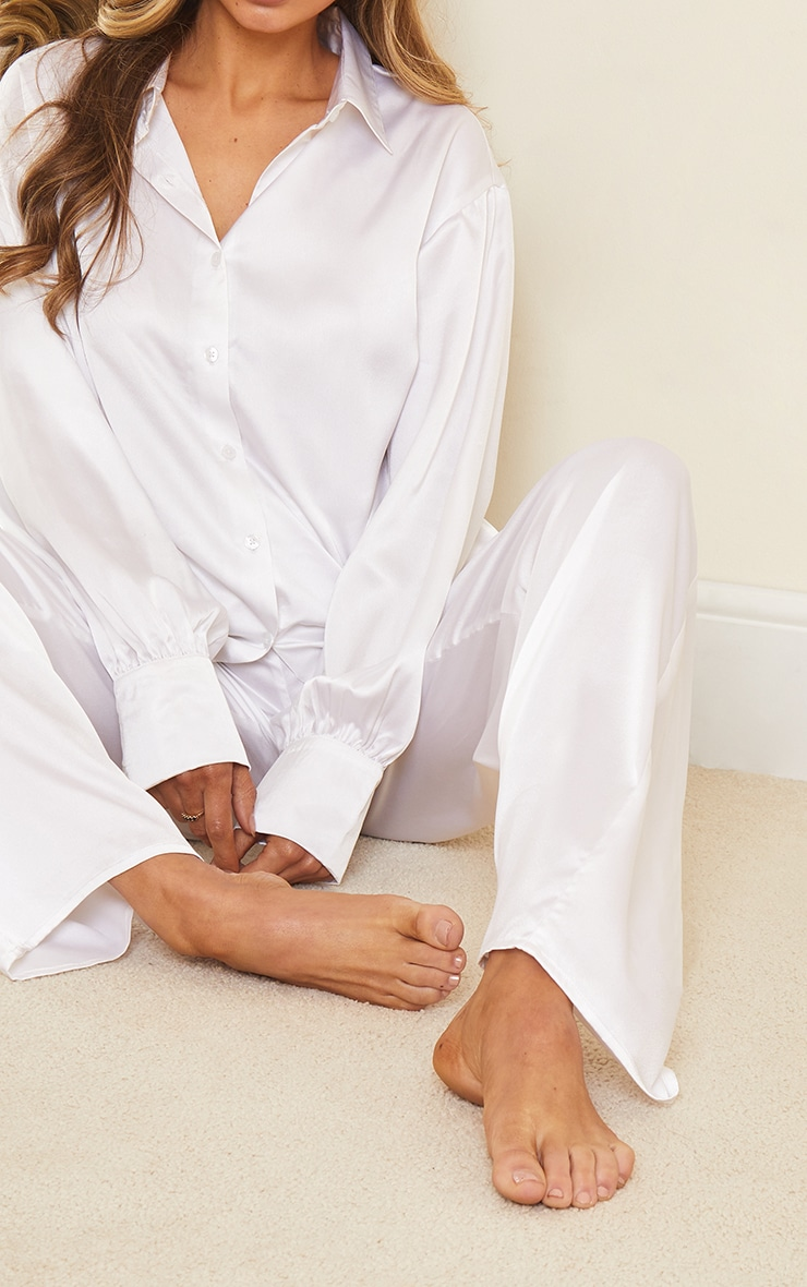Ivory Oversized Long Satin Pj Set 4