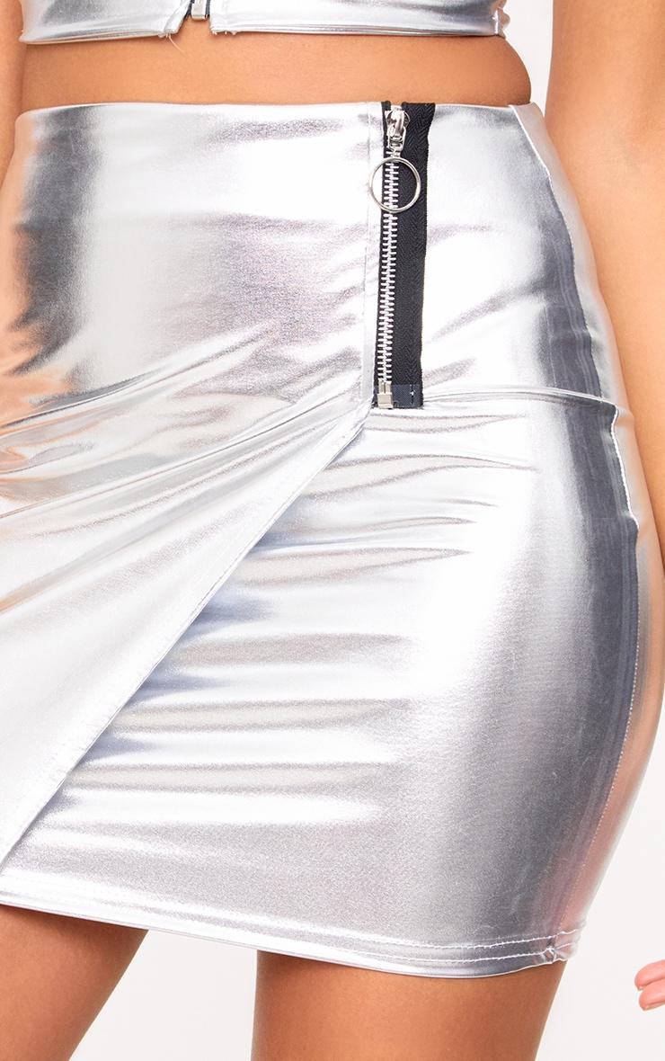 Silver Metalllic Ring Zip Mini Skirt 6