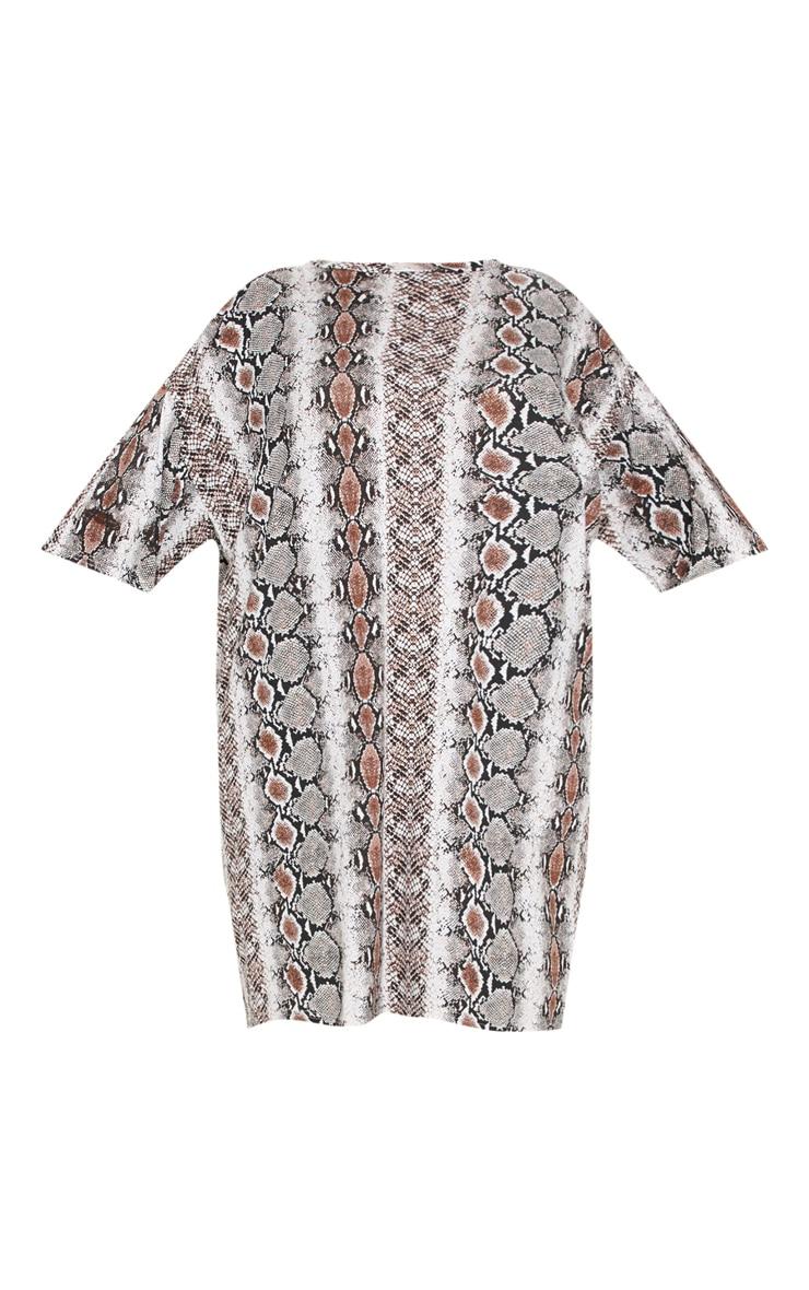 Plus Taupe Snake Print T-Shirt Dress 3