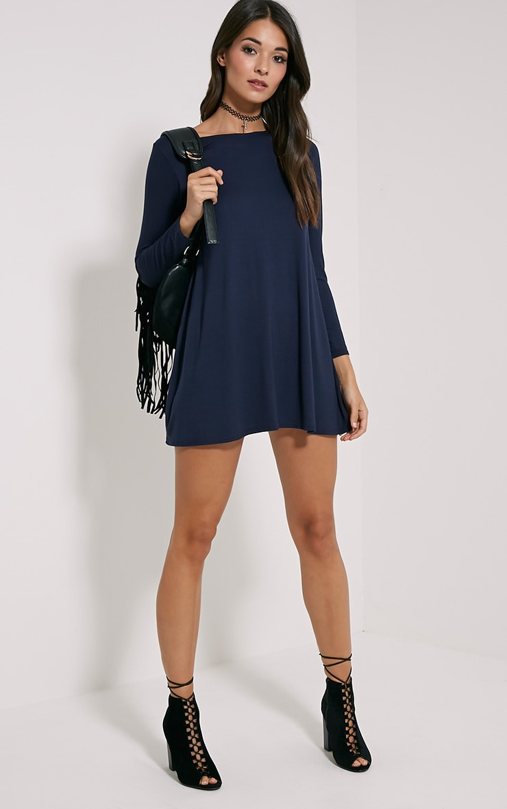 Basic Navy Long Sleeve Swing Dress 3