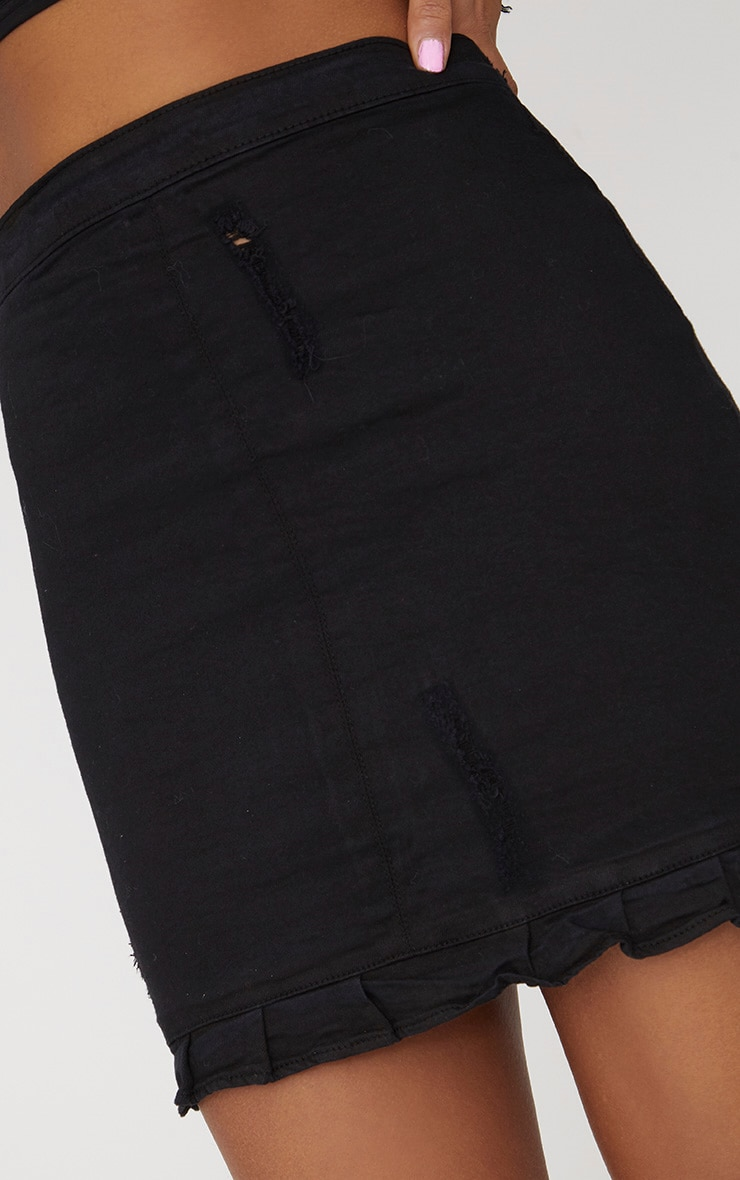 Black  Ruffle Hem Denim Skirt 5