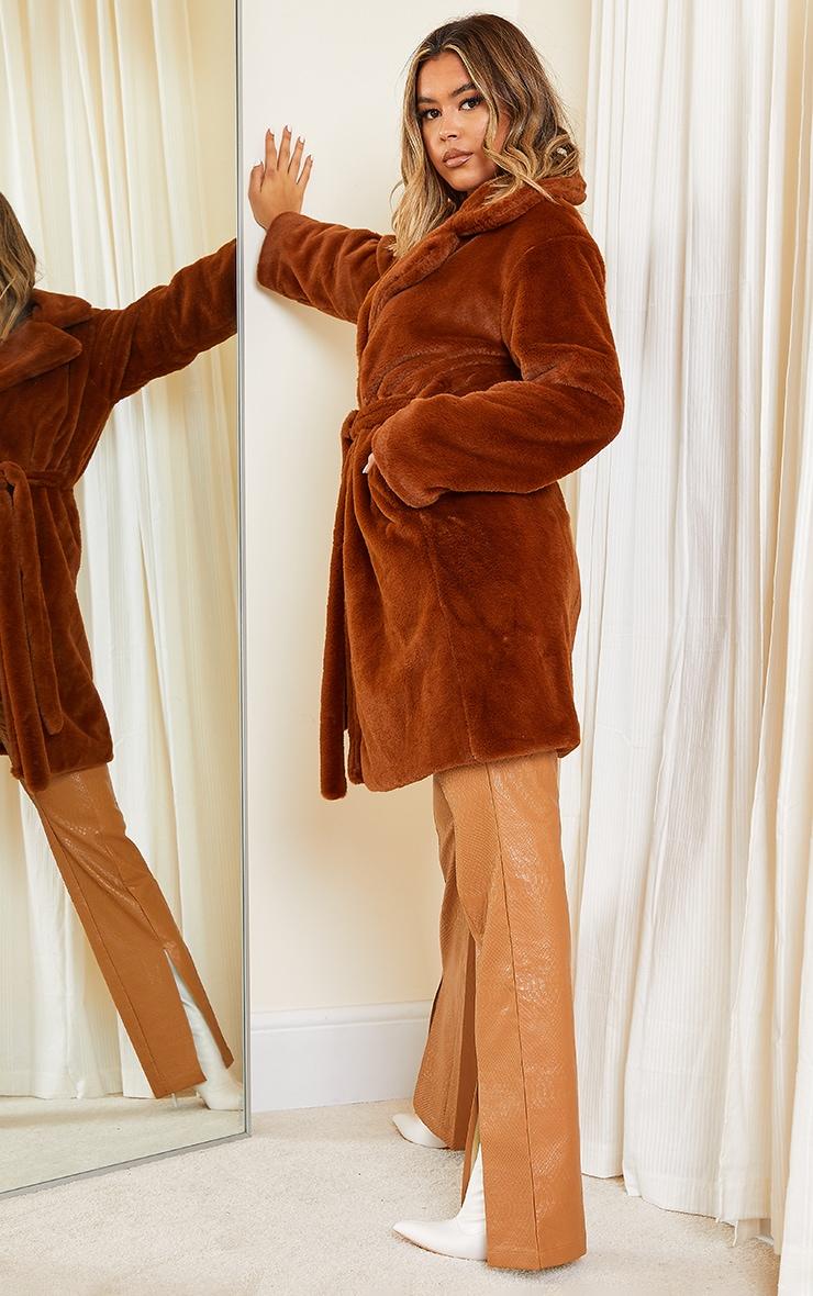 Tan Soft Faux Fur Belted Midi Coat 3