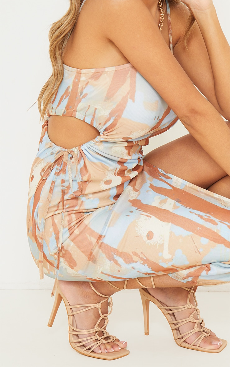 Multi Abstract Print Mesh Strappy Waist Cut Out Midaxi Dress 4