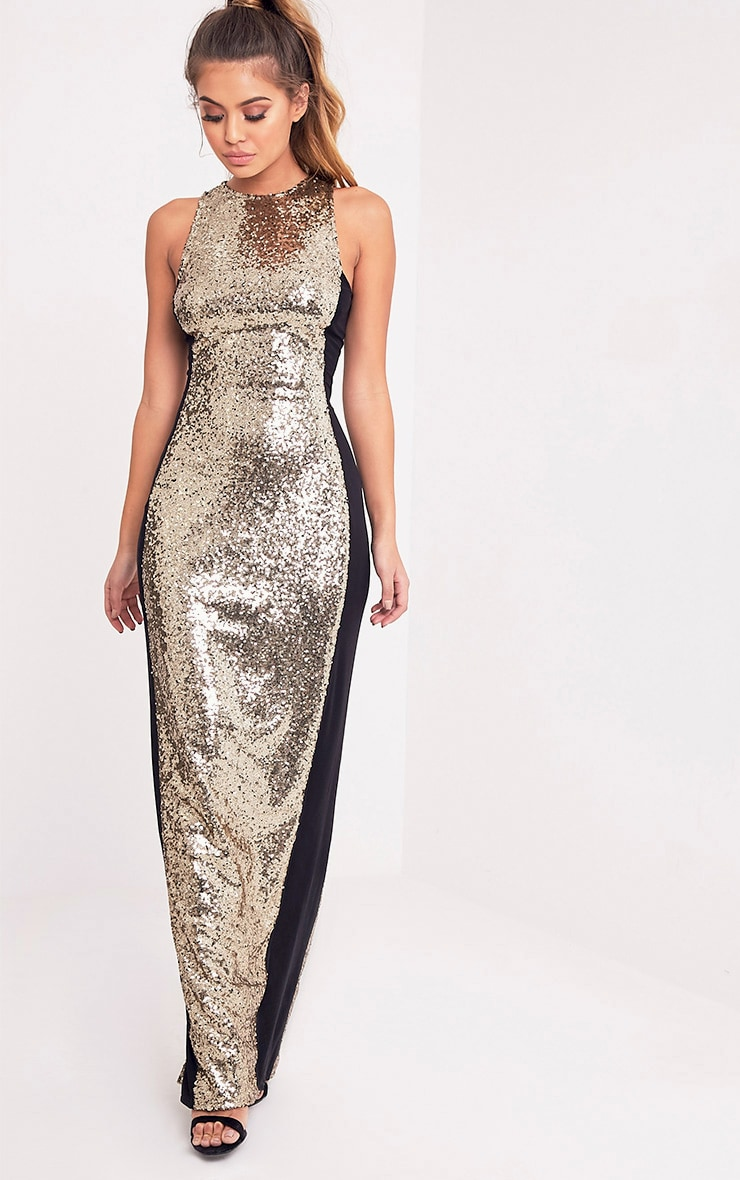 Carsie Gold Sleeveless Sequin Maxi Dress 1