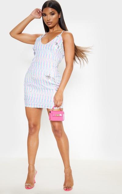 Multi Sequin Strappy Bodycon Dress