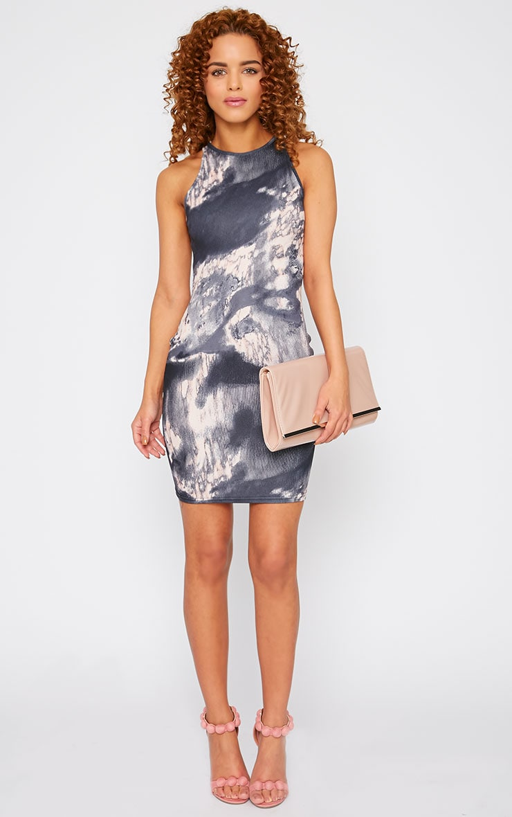Amina Grey Marble Print Bodycon Mini Dress 3