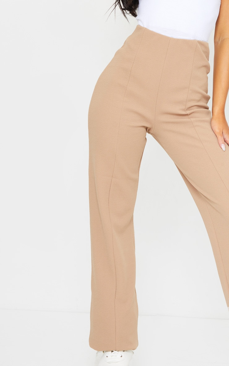 Camel Crepe Seam Front Wide Leg Trousers 4