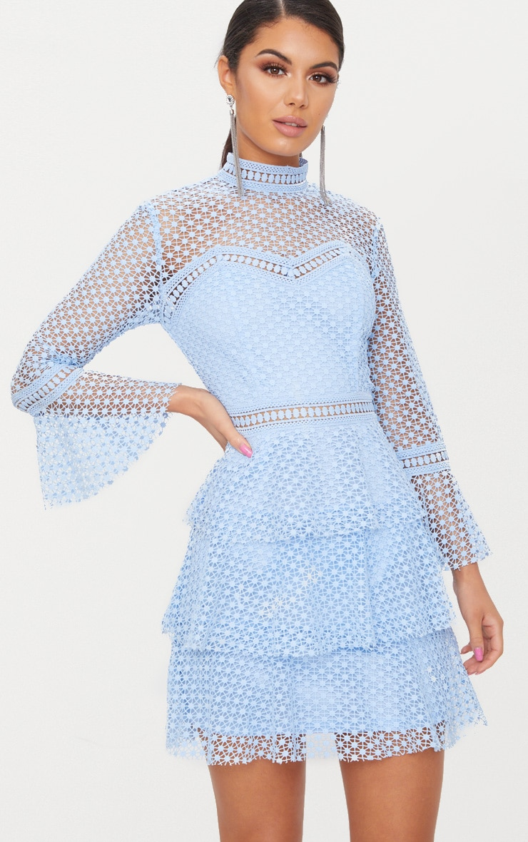 Dusty Blue Flare Sleeve Lace Tiered Mini Dress  1