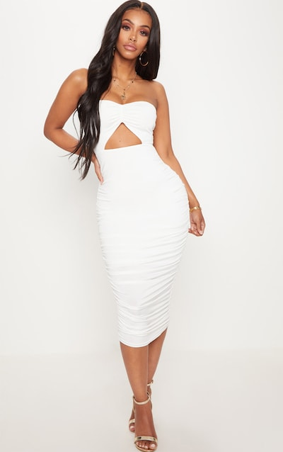 230d28864d8 Shape White Slinky Cut Out Ruched Bandeau Midi Dress PrettyLittleThing  Sticker