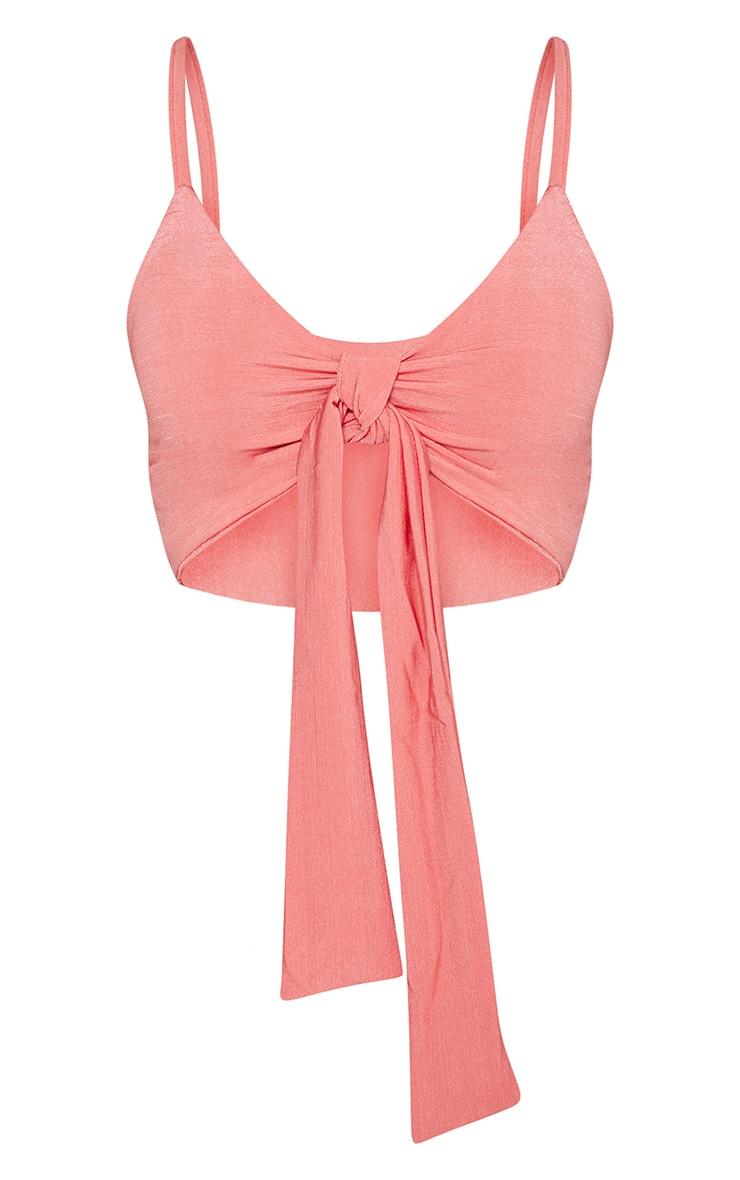 Shape Coral Slinky Tie Front Crop Top 3
