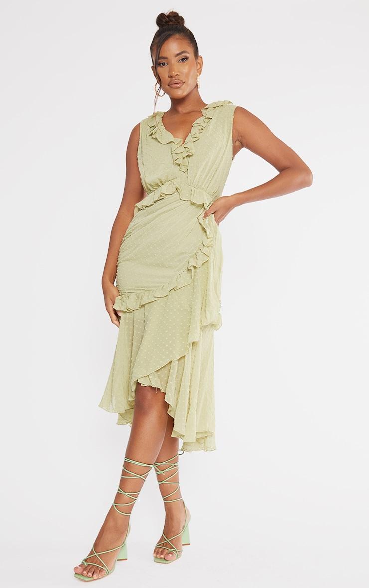 Olive Dobby Chiffon Plunge Frill Detail Midi Dress 1