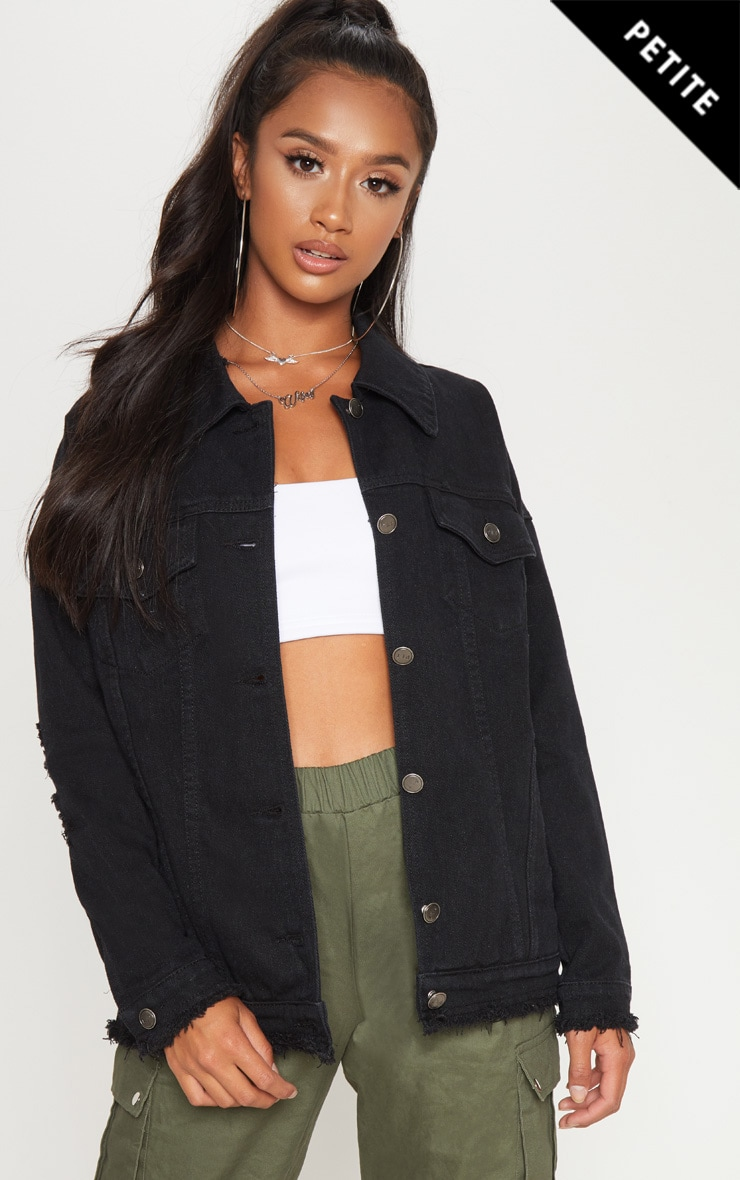 Petite Black Distressed Oversized Denim Jacket