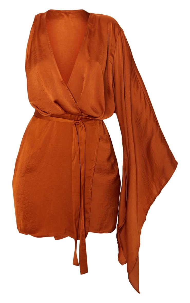 Rust Drape Sleeve Wrap Shift Dress 3