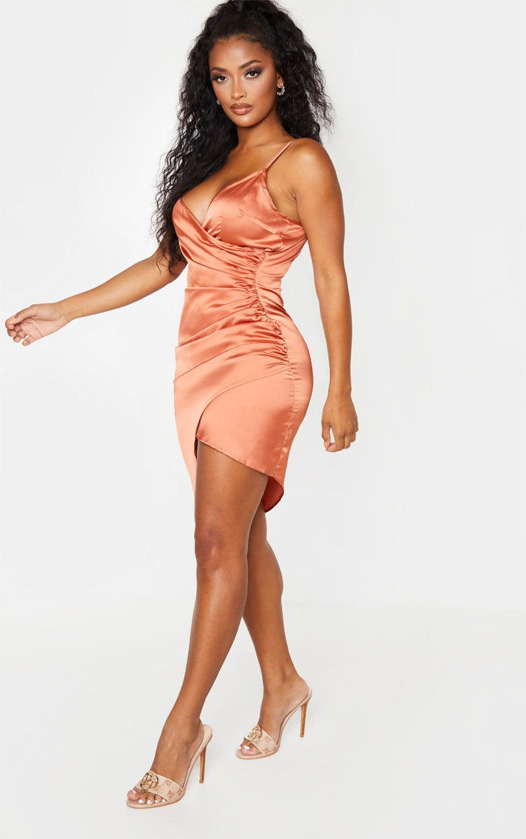 Shape Bronze Satin Wrap Dress 4