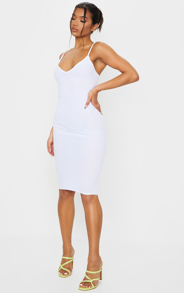 White Ribbed Plunge Midi Dress 3