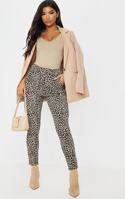 Stone Leopard Skinny Trousers