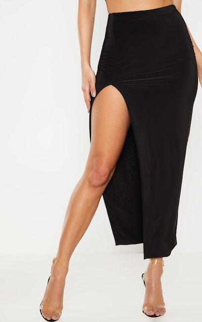 Black Slinky Midaxi Skirt