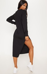 db5abaa8d40 Black Oversized Side Split Midi Jumper Dress image 2