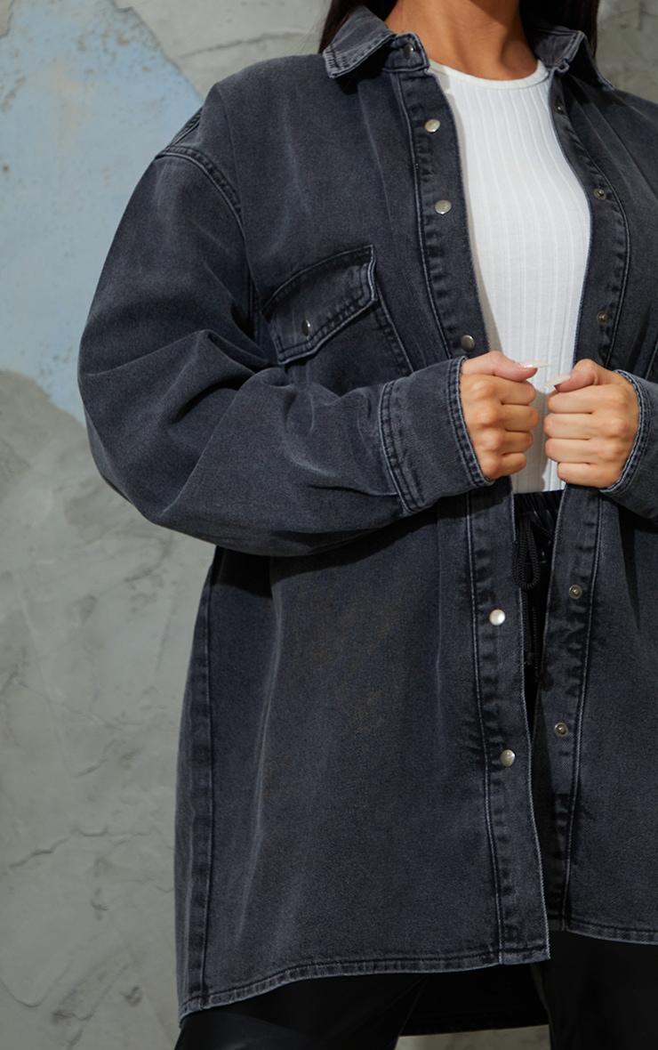 Washed Black Oversize Denim Boyfriend Shirt 4
