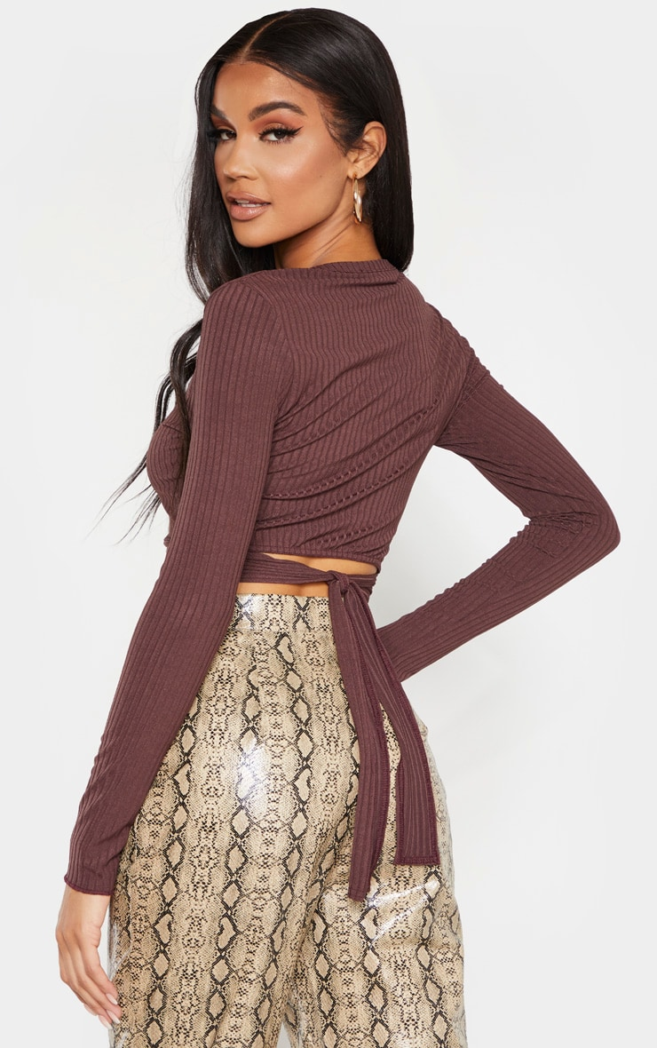 Chocolate Rib Tie Scoop Neck Crop Top 2