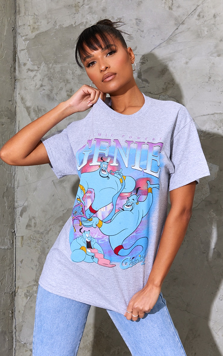 Marl Grey Disney Genie Printed T Shirt 1