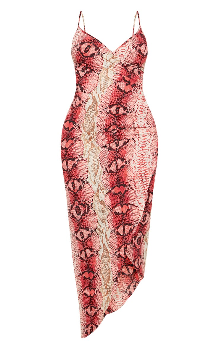 Shape Hot Pink Snake Print Satin Wrap Detail Midaxi Dress 3
