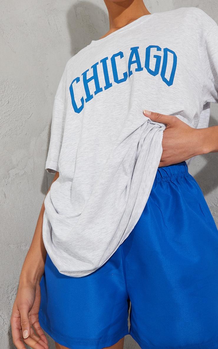 Ash Grey Chicago Slogan Oversized T Shirt 4