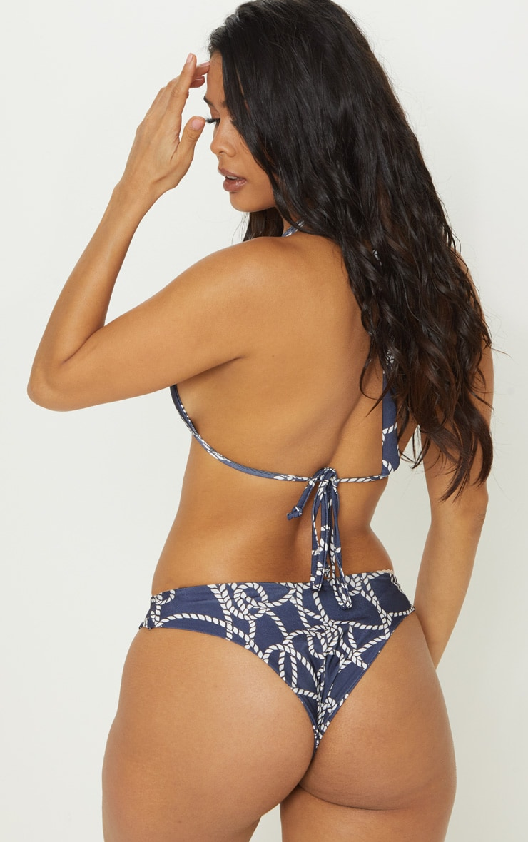 Navy Rope Print Cut Out Tie Bikini Top 2