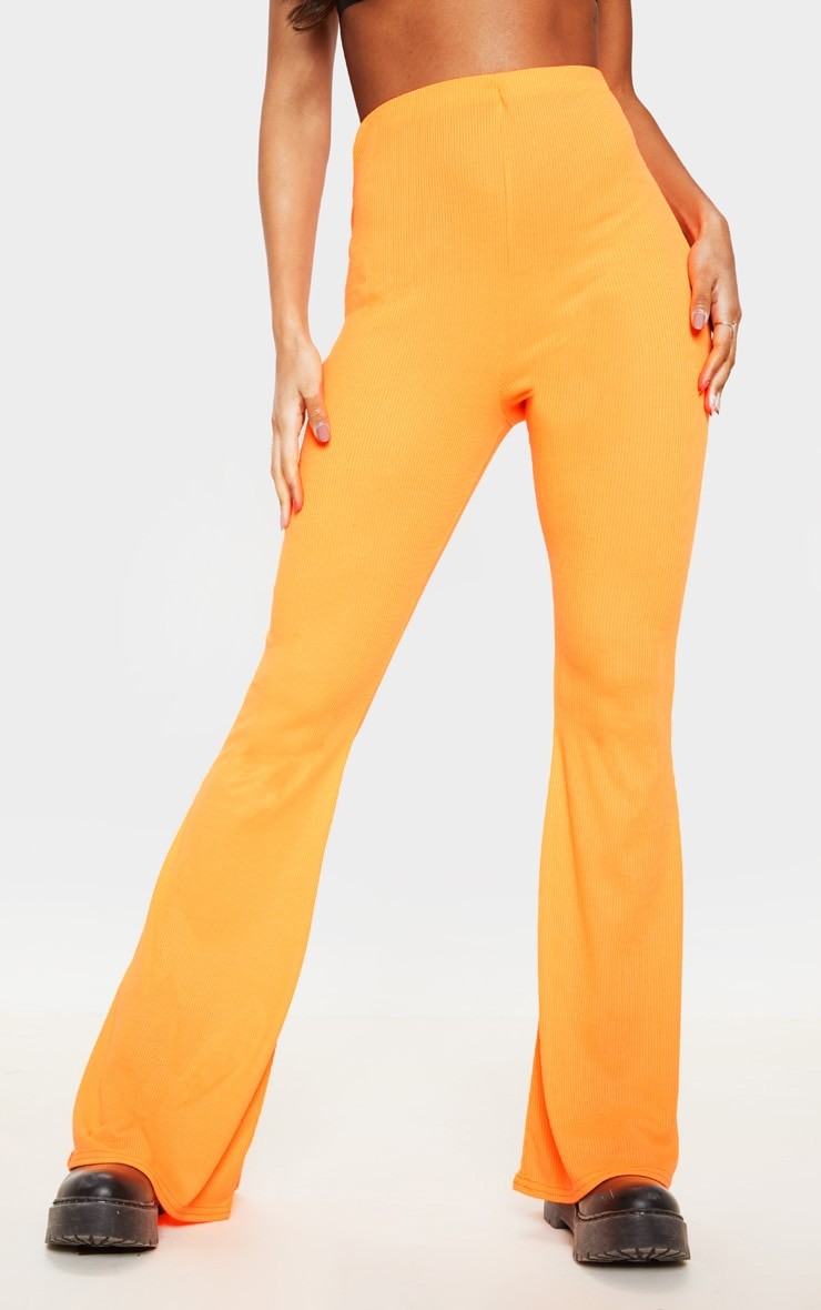 Neon Orange Ribbed Flared Trouser 2