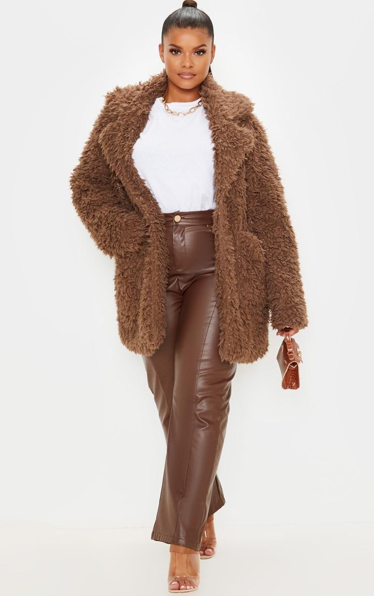 Plus Brown Teddy Faux Collar Coat 1