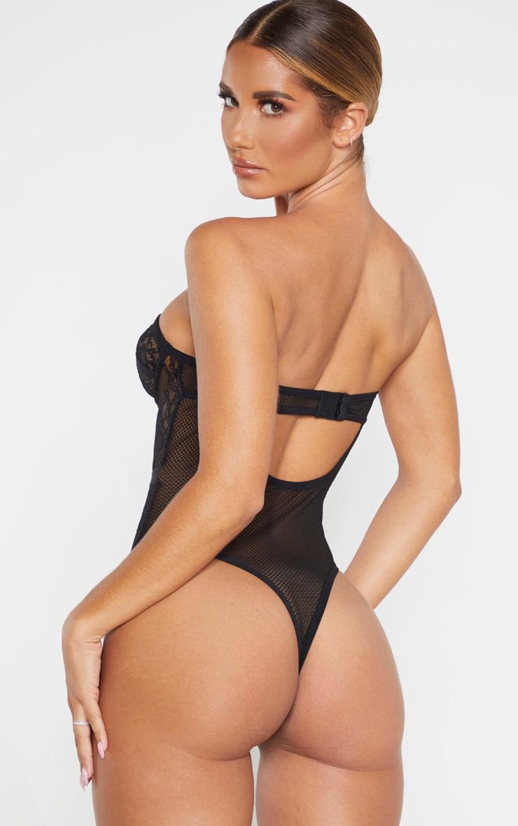 Body style corset noir à détail dentelle 2